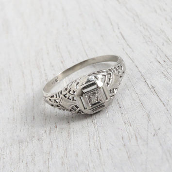 Antique Art Deco 14K White Gold Diamond Ring - Size 6 1920s 1930s Filigree Engagement Fine Jewelry / Open Metal Work
