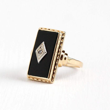 Vintage Art Deco 14k Rosy Yellow Gold Black Onyx Diamond Ring - 1930s Size 6 3/4 Geometric Rectangular Dark Gem Statement Fine Jewelry