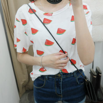 Watermelon printing fashion short sleeve T-shirt