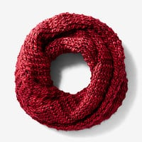 red marled chunky knit snood