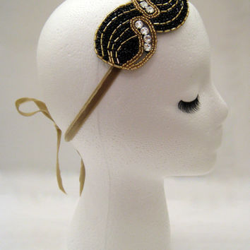 Art deco hairpiece, Great Gatsby party, prom headband, 20s headband, flapper fashion, vintage prom, Gatsby prom, Swarovski crystal headband