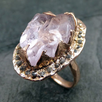 Raw Rough Uncut Kunzite Diamonds Rose Gold Halo Ring Engagement Wedding Ring  Statement ring anniversary ring byAngeline