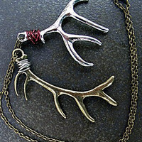 Deer Antler Necklace Silver and Bronze