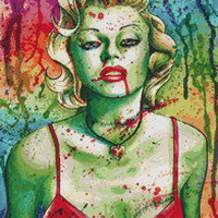 Modern Cross Stitch Kit By Carissa Rose 'Marilyn Monroe Zombie Doll'