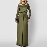 New Arrival Elegant Maxi Dress Women Long Sleeve Retro Slash Neck Spring Autumn High Waist Long Party Gown Dresses Vestidos