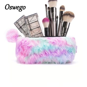 Unicorn Color Plush Fur Women Cosmetic Bag