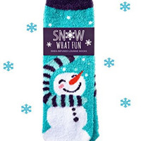 Bath and Body Works Snowman Shea Socks - Shea-Infused Aloe Lotion Lounge Slipper Socks - Super Soft 'Snow What Fun' Lotion Socks with Snowman Snowflakes and Scarf