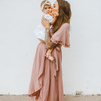 "the ""Morgan"" Wrap Maxi Dress - Dusty Rose"