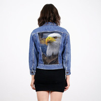 Vintage Denim Jacket Jean Jacket American Bald Eagle Print Upcycled Denim Blue Jean Bomber Jacket Customized Denim Lee 80s XS S Extra Small