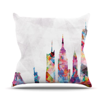 "Mareike Boehmer ""New York"" Rainbow City Outdoor Throw Pillow"