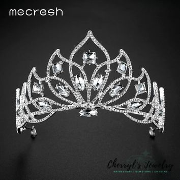 Mecresh Big Crystal Flower Tiaras and Crowns For Bride 2017 New Silver Color Princess Wedding Hair Accessories Jewelry MHG123