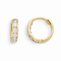 14k Yellow Gold Hinged C.Z Hoop Earrings