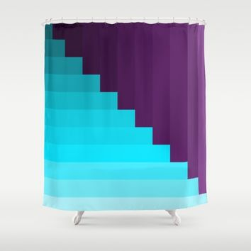 Ups and Down | Deep Within | Purple | Blue | Turquoise Shower Curtain by Azima