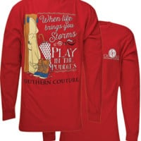 Southern Couture Play In Puddles Comfort Colors Long Sleeve T-Shirt