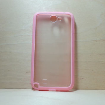 Samsung Galaxy Note 2 Case Silicone Bumper and Translucent Frosted Hard Plastic Back - Pink