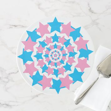 Blue And Pink Star Circles elegant one-of-a-kind Cake Stand