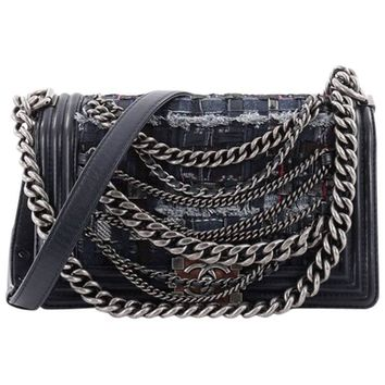 Chanel Boy Flap Bag Enchained Tweed Old Medium