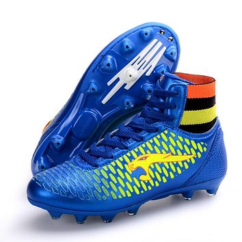 Outdoor Adults Men Kids Boys Soccer Cleats Shoes High Top TF/FG/AG Football Boots Soccer Training Soccer Shoes Boots With Ankle