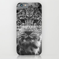 Grunge Black And White Leopard Meow iPhone & iPod Case by Hyakume