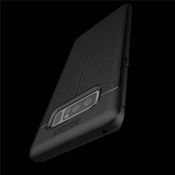 Soft Litchi Silicone Phone Cases for Samsung Galaxy Note 8 Case Luxury Leather Shockproof Armor Shell Business Style Back Cover