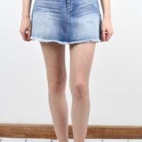 Frayed Hem Denim Skirt {Md. Light Wash}