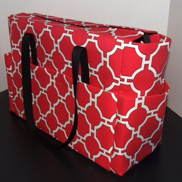 Tote/Diaper bag, X-large size, in red and white print with black trim (Monogramming additional charge)