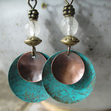 Tourmaline Earrings Patina Earrings Boho Earrings Turquoise Earrings Dangle Earrings Jewelry Small Earrings