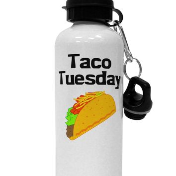 Taco Tuesday Design Aluminum 600ml Water Bottle by TooLoud