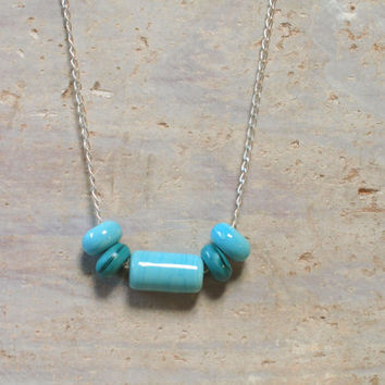 Color Block Necklace Jewelry Turquoise Teal / Sea Beach Ocean Bright Colorful