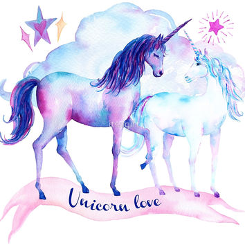 'Unicorn Love Watercolor Unicorns' by itsagift