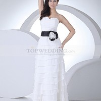 Strapless Ruffled Chiffon Wedding Dress with Contrasting Floral Sash