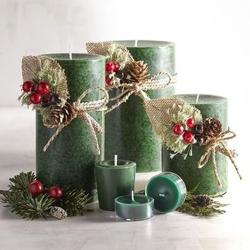 Holiday Forest Mottled Pillar Candles