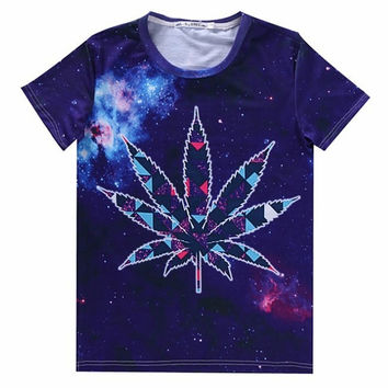 Space Galaxy Nebula Marijuana Leaf Hip Hop Urban Swag Sublimation All Over Print Shirt Tee Shirt Graphic Tee Gift Idea Free Shipping USA