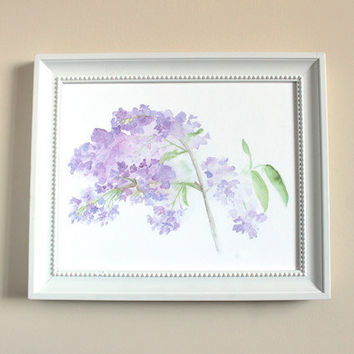 Watercolor Painting of Lilacs - Lilacs Print, Lilacs Painting, Botanical Art Print, Floral Spring Garden Art Lavender Mauve Purple Flowers