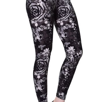 Printed Brushed Leggings - Goth Expression