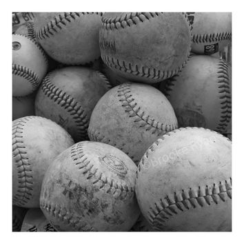 Baseballs - Gift for Him - Stocking Stuffer - Three Black and White Photo Cards - Free US Shipping