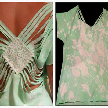 Mint green fringed top with lace center