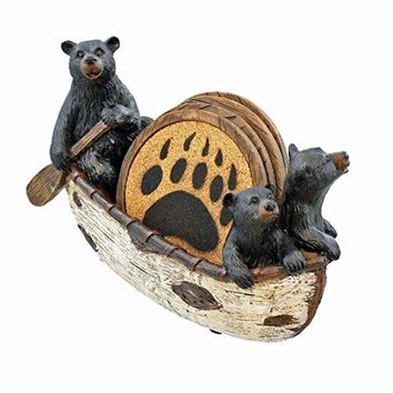 3 Black Bears Canoeing Coaster Set  4 Coasters Rustic Cabin Canoe Cub Decor by LL Home