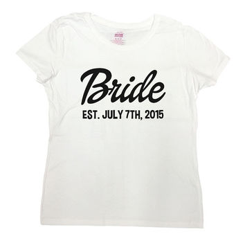 Bride T Shirt Established (Any Date) from CherryTees on Etsy