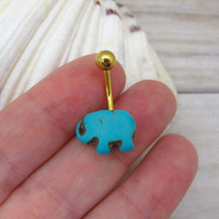 Cute turquoise  elephant belly button ring, elephant belly button jewelry,  elephant navel jewelry, belly button ring jewelry,unique gift