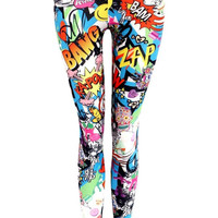 Phoebie Smiley Cartoon Print Leggings in Multi Colour