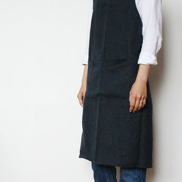 Retro Linen apron/Dark navy cross apron/Vintage high waist apron