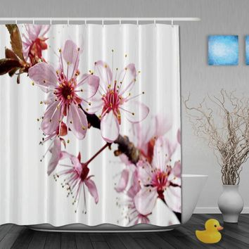 Custom Cherry Blossoms Pink And White Color Luxury Curtains Waterproof Fabric With Hooks High Quality Bathroom Shower Curtain