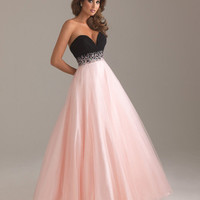 Pink & Black Chiffon & Tulle Deep Sweetheart Beaded Empire Waist Prom Gown - Unique Vintage