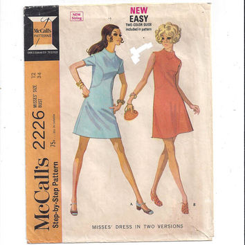 McCall's 2226 Pattern for Misses' Dress in 2 Versions, from 1969, Size 12, Vintage Pattern, Home Sewing, Back Zipper, Front Seam Detail
