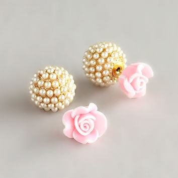 Double-sided Rose & Pearl Earrings