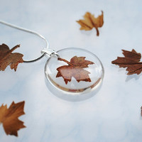 Autumn Necklace Petite Resin Jewelry Pressed Leaf Mini Maple Petite Transparent Airy Botanical Necklace / Pendant