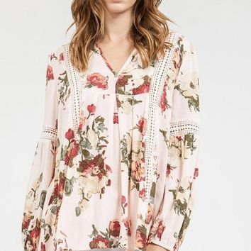Wentz Blush Floral Blouse by Blu Pepper
