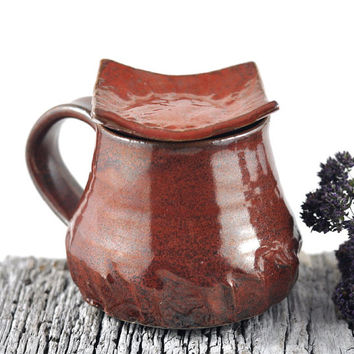 Coffee Mug Tea Cup and Spoon Rest Ceramic Handmade Pottery Red Brown New Arrival