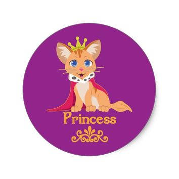 Princess Kitten Classic Round Sticker